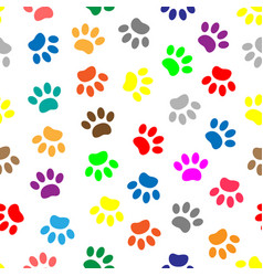seamless pattern with colored paws vector image vector image