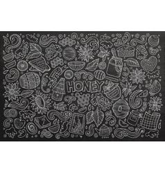 cartoon set of Honey theme objects vector image