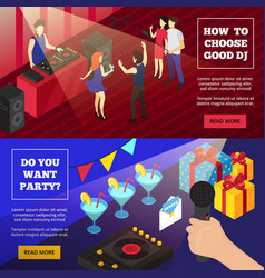 discoteque party isometric banners vector image vector image