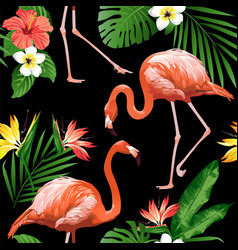 flamingo bird and tropical flowers background seam vector image vector image