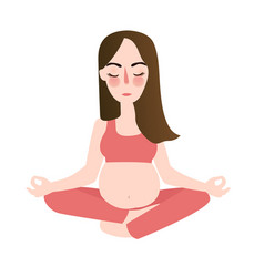 pregnant yoga woman in lotus position meditation vector image