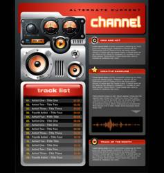 red analog mp3 player brochure vector image vector image