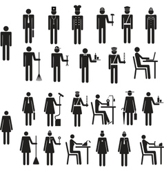 Set of icons figure people job occupation vector image vector image