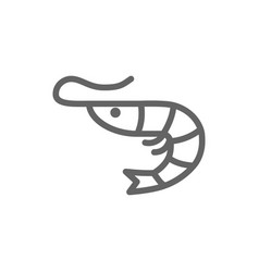 simple shrimp line icon symbol and sign vector image