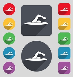 swimmer icon sign A set of 12 colored buttons and vector image