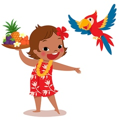 tropical island girl and parrot vector image vector image