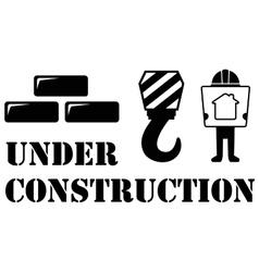 Black under construction symbol vector