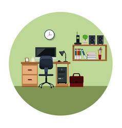 Office work space with desh chair cabinet book vector