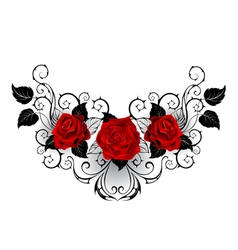 Symmetrical Tattoo of Red Roses vector image