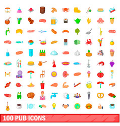 100 pub icons set cartoon style vector