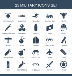 25 military icons vector