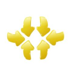 3d yellow arrows vector image