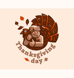 A child is embracing a turkey thanksgiving day vector