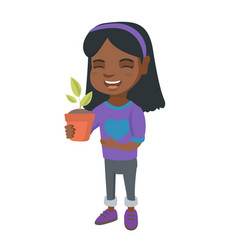 african smiling girl holding a potted plant vector image vector image