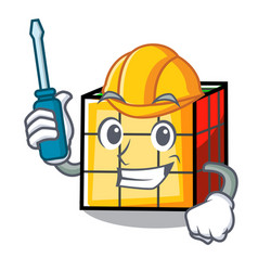 Automotive rubik cube mascot cartoon vector