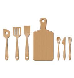 Bamboo kitchen utensils set isolated on white vector