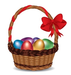 Basket with Colorful Eggs2 vector image