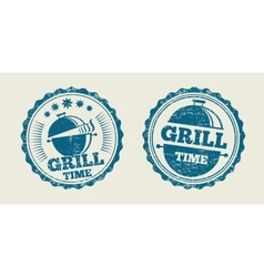 BBQ grill barbecue vintage steak menu seal stamp vector image