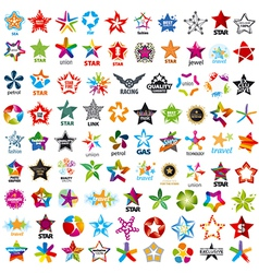 biggest collection of logos five pointed stars vector image