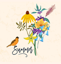 Bird and flowers vintage summer vector