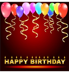 birthday greeting card with ballons vector image