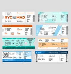 Boarding pass template board tickets airplane vector