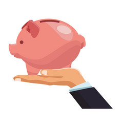 businessman hand holding piggy vector image