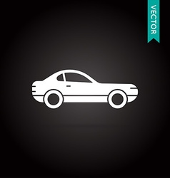 Car Icon White on Black vector image
