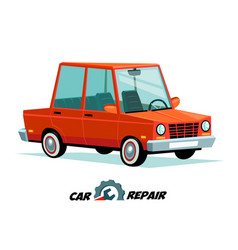 car repair concept cartoon car image in flat vector image