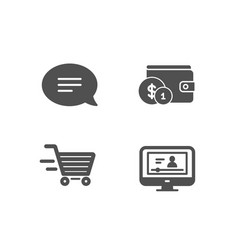 Chat delivery shopping and buying accessory icons vector