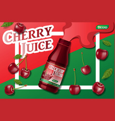 cherry fresh juice advertising juice container vector image