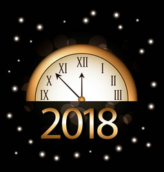 christmas new year 2018 golden clock and bright vector image