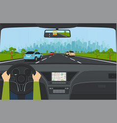 City traffic on highway with car dashboard vector