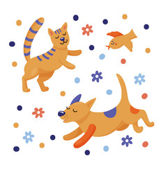 cute happy jumping cat running dog flying bird vector image