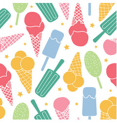 cute ice cream and stars seamless pattern vector image