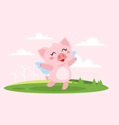 Cute pink flying pig with wings vector