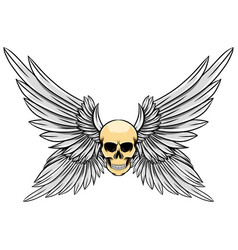 dead skull with four wings up vector image