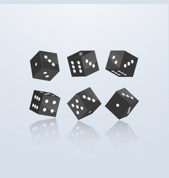 Dice of black color in different perspective on a vector
