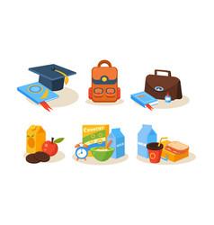 Different school supplies set educational vector