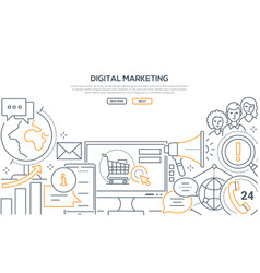 digital marketing - modern line design style web vector image