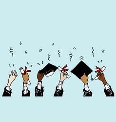Doodle hands up graduation caps thrown up vector