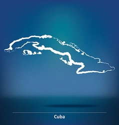 Doodle Map of Cuba vector image