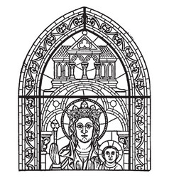 Early french window at chartres vintage engraving vector