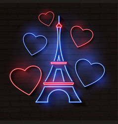eiffel tower in neon light on brick vector image