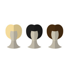Fashionable hairstyle wig for beauty salon flat vector