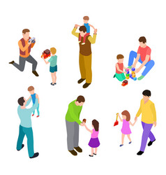 fathers and kids isometric joint activity dads vector image