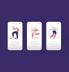 Fitness gym character mobile app onboard screen vector