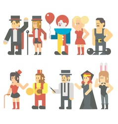 Flat design of circus show set vector image