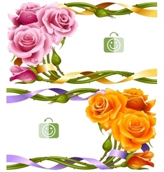 Frame set of yellow and pink roses vector