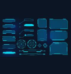 futuristic frames cyberpunk hud square screen vector image